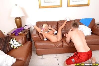 Big tit blonde slut milf Nikita giving a smooth blowjob and gets nailed