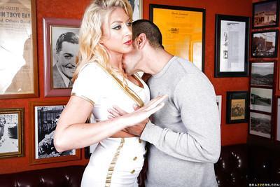 Milf slut Leya Falcon has her big tits teased in a uniform