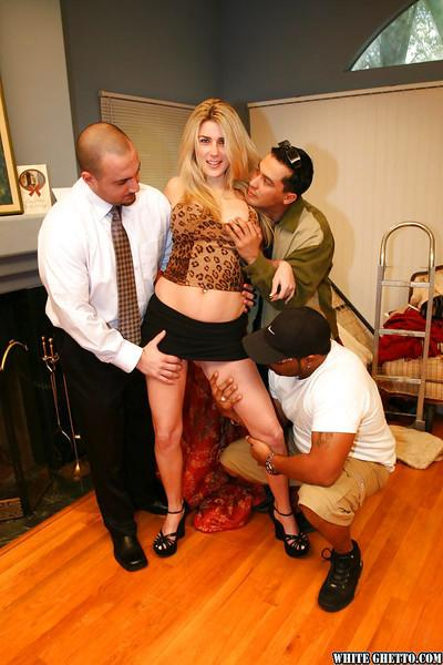 Milf slut Cierra Sage takes part in a gangbang action with some guys