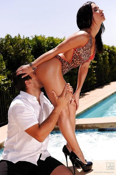 Dark haired Latina pornstar Ann Marie Rios fucking hard at the pool