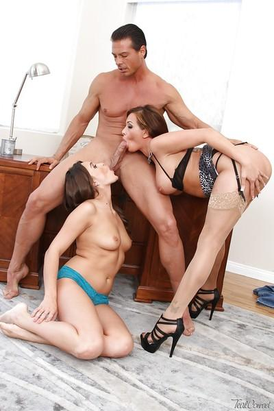 Threesome sex scene featuring milf pornstar Tory Lane and Teal Conrad