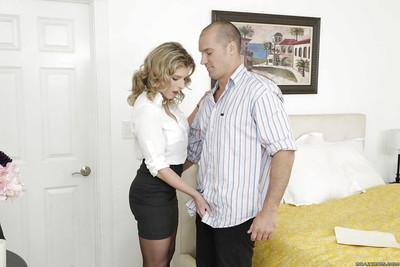 Married blonde MILF Cory Chase seducing big cock with bj on knees action
