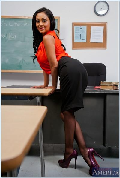 Steaming hot teacher with big tits Priya Anjali Rai stripping in the class