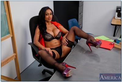 Steaming hot teacher with big tits Priya Anjali Rai stripping in the class