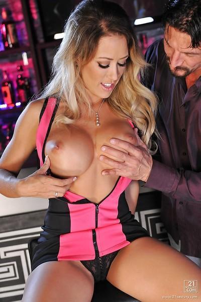 Busty blond pornstar Capri Cavanni having trimmed pussy licked clean