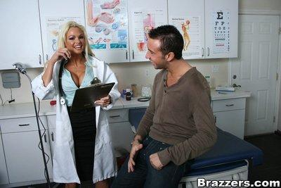 Hot doctor Rhylee Richards takes off uniform for a wild hardcore fuck