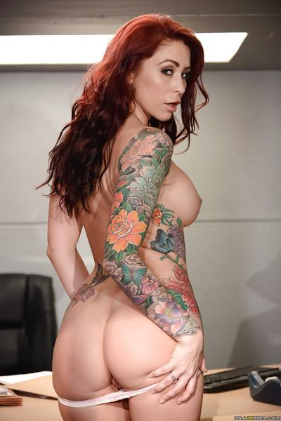 Tattooed MILF Monique Alexander showing off nice ass and labia lips