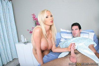 Hot MILF with huge juggs Nikki Benz feels a cock penetrating her cunt