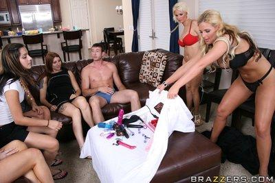 Amazing MILFs Phoenix Marie and Diamond Foxxx in a reality gangbang