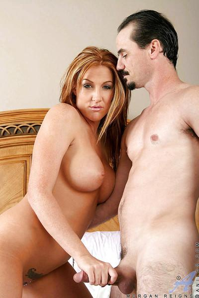 Sexy MILF Morgan Reigns with big tits in wild hardcore fuck action.