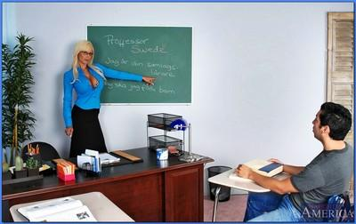 MILF teacher in glasses Puma Swede denudes her booming curves and fucks