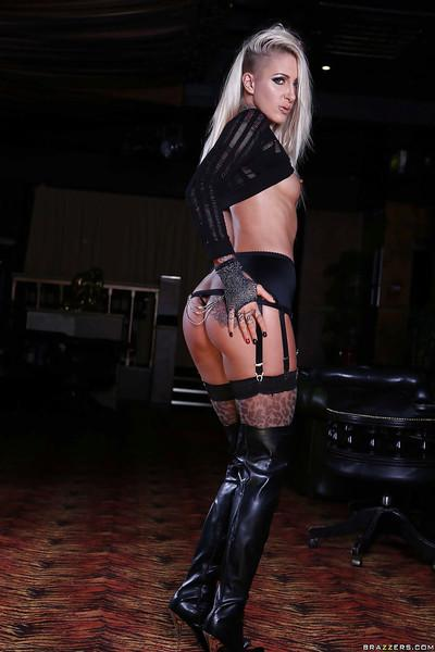 Steamy blonde in thigh boots and nylons reveals her tits and pussy
