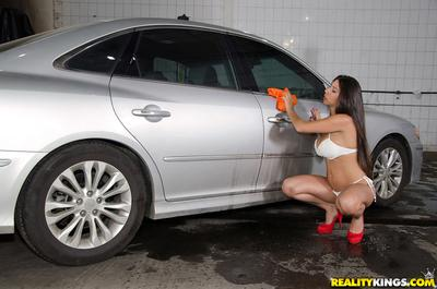 Latina Cristiane Fatally is washing car and showing off her booty