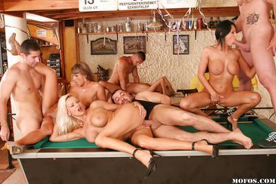 Big tits milf babes Alison, Winnie and Christine in wild groupsex