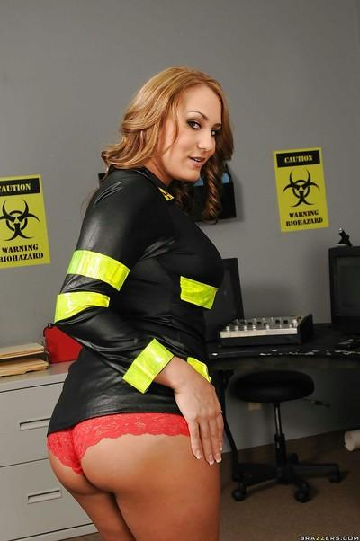 Dangerous MILF in uniform Trina Michaels teases with her perfect tits