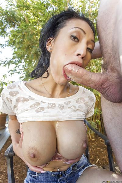 Stunning Asian Jayden Lee is sucking his horny prick with pleasure