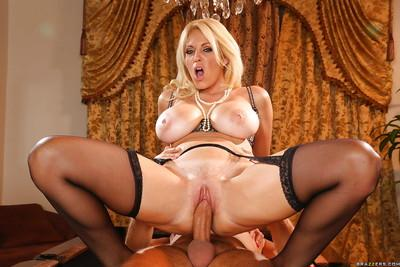 Charlee Chase enjoys hard twatting and takes a cumshot on her big tits