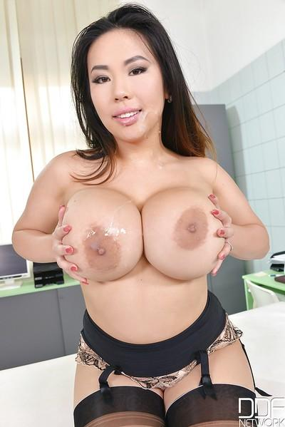 Wild MMF threesome sex with busty Asian MILF Tigerr Benson tit fucking dick