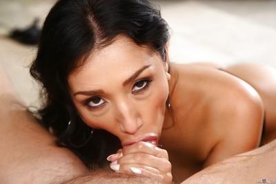 Sexy Latina MILF Vicki Chase deepthroating cock POV style
