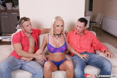 Busty blonde Jessica Moore tries two hard dicks for a first time