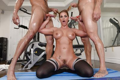 Oiled MILF Phoenix Marie taking ass fucking in hardcore MMF threesome