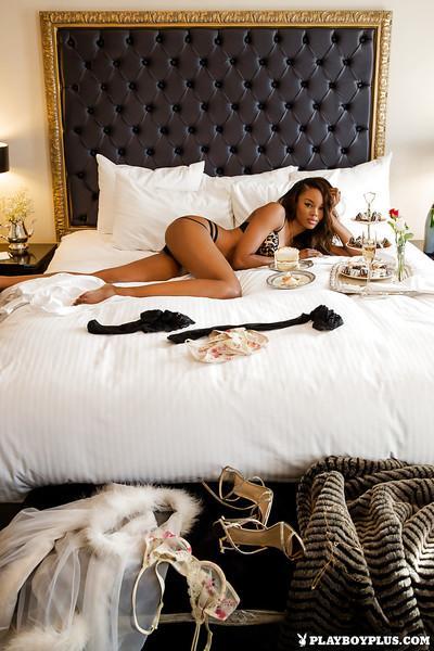 Black centerfold babe Eugena Washington exposing nice MILF tits