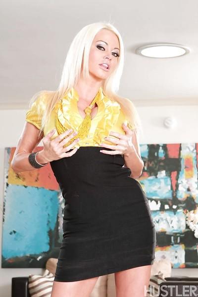 Blonde babe Nikita Von James unveils big MILF pornstar boobs
