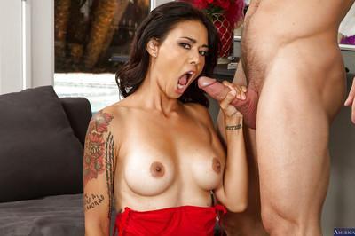 Tattooed Asian Dana Vespoli is getting a nice load of sperm on face