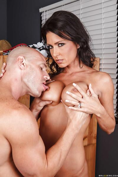 Busty brunette Jessica Jaymes gets fucked hardcore and facialized