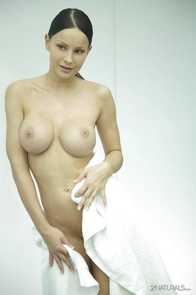 Wild milf Abbie Cat gets in shower cabin and washes her cute tits