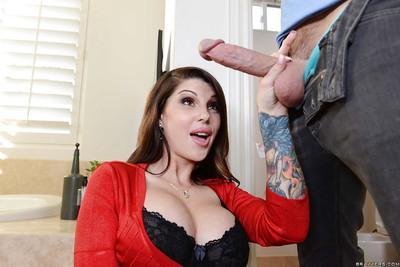 Busty MILF Darling Danika strokes cock in awesome CFNM scene