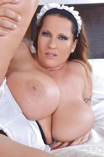 Big-tit maid Laura Orsolya was drilled in the bedroom with force