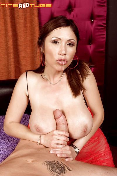 MILF pornstar Kianna Dior tit fucking cock for cumshot on nice melons
