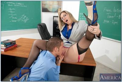 Horny blonde MILF Sara Jay as a teacher in reality hardcore porn.