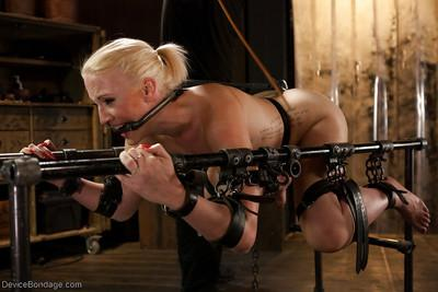 Blonde bondage babe Dylan Ryan pegged with clothespins before masturbation