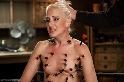 Blonde bondage babe Dylan Ryan pegged with clothespins before masturbation