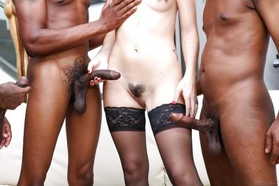 Interracial gangbang fucking with amazing brunette Marley Blaze