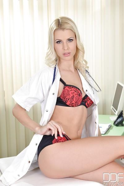 Blonde Swedish nurse Lynna Nilsson flashing upskirt underwear