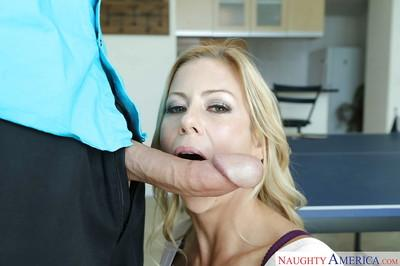 Blonde MILF Alexis Fawx using slutty lips to suck cum from long cock