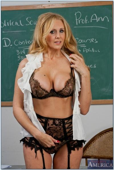 Smoking hot teacher in stockings Julia Ann stripping in the class