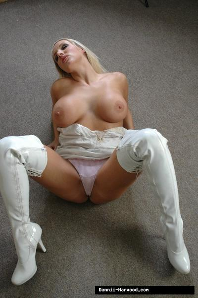 Big tits blondie Dannii Harwood is showing off in white high heels