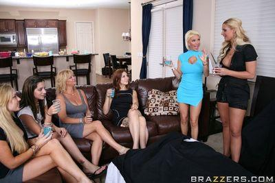 Saucy MILFs play with their sex toys and a real huge cock at the house party