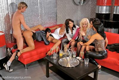 Salacious gals in stockings enjoy wet and wild groupsex at the house party