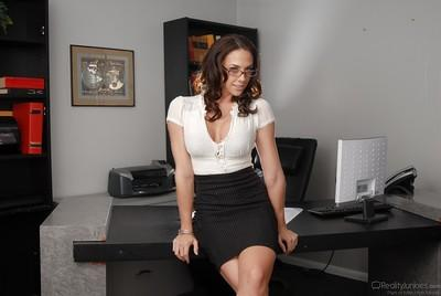 Steaming hot secretary Chanel Preston stripping and spreading her legs