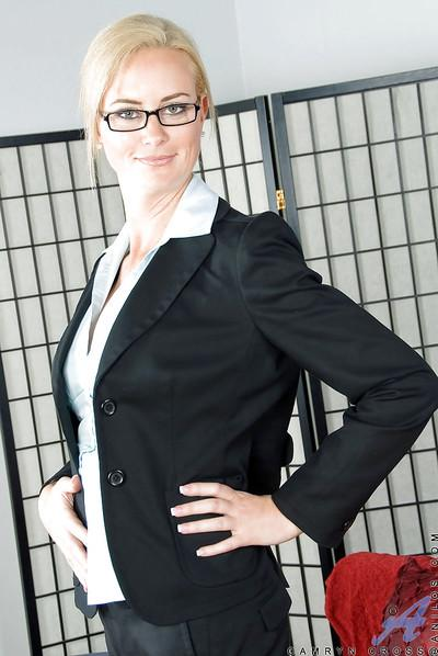 Luxurious secretary MILF Camryn Cross showing off big boobs and butt