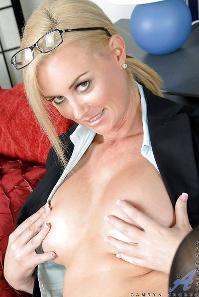Luxurious secretary MILF Camryn Cross showing off big boobs and butt