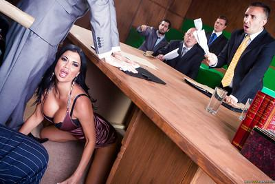 Office milfs Jasmine Jae and Loulou are sucking a huge cock