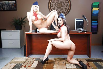 Two perfect lesbian MILFs in uniform Kagney and Kendra are naked