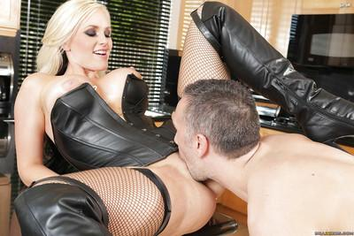 Blonde milf Alena Croft dominating over her poor lover in latex outfit