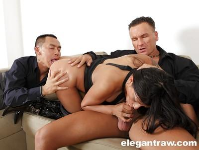 Double penetration is a favorite dish for ass fucking star Yoah Galvez